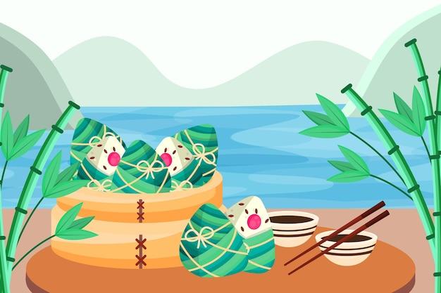 Tapete mit zongzi des drachenboots