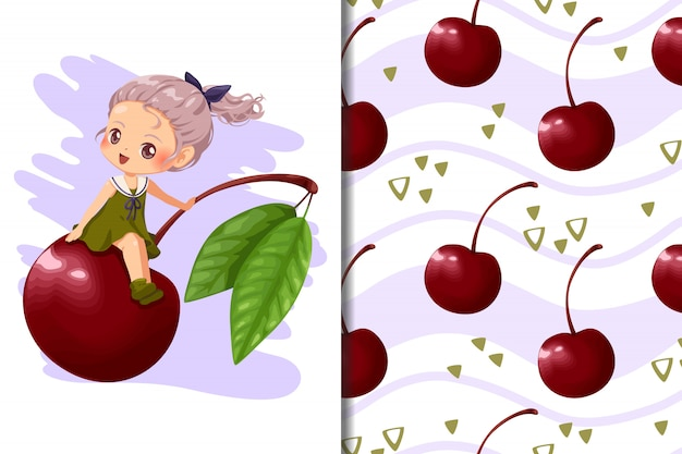 Tapete und nahtloses musterkind, kirschfrucht und horizontale linie hand gezeichnet