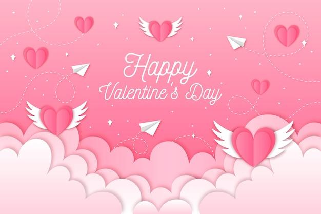 Tapete zum valentinstag im papierstil