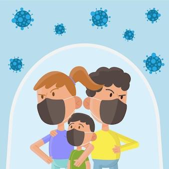 Tapfere eltern und kinder vor dem virus geschützt