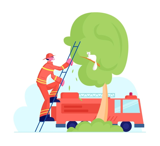 Tapferer feuerwehrmann in roter schutzuniform und helm klettert auf lkw-leiter, um katze zu retten. karikatur flache illustration