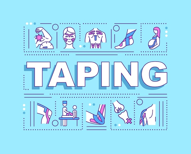 Taping wortkonzepte banner. unterstützung anatomischer strukturen. verletzungsprävention.