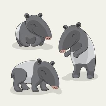 Tapir cartoon niedliche tiere