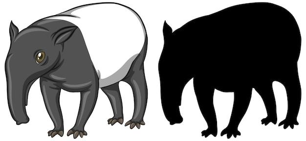 Tapir zeichen und seine silhouette auf weißem hintergrund