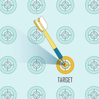 Targeting-konzept: ein dart-schießen auf eine zielscheibe im linienstil