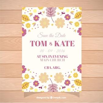 Tarjeta para boda decorada con lindas flores