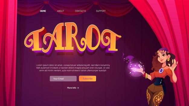 Tarotkarten divination cartoon landing page wahrsagerin zigeunerin stehen an offenen roten vorhängen mit leuchtender hand laden in mystischem raum zur wahrsagerei und zukunftsvorhersageillustration ein