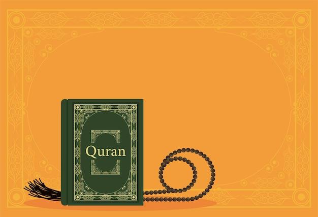 Tasbih und koranbuch auf orange