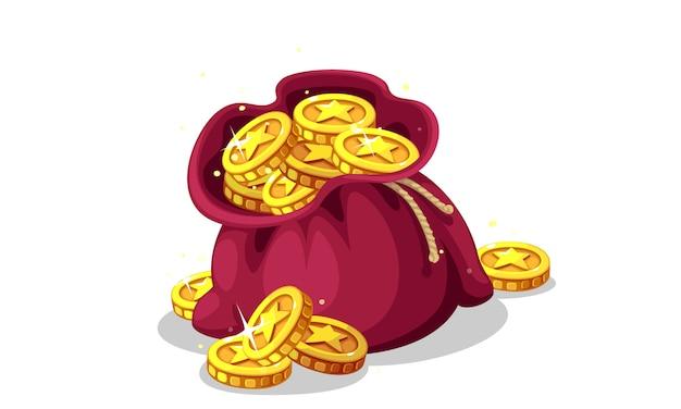Tasche der goldmünzen-vektorillustration
