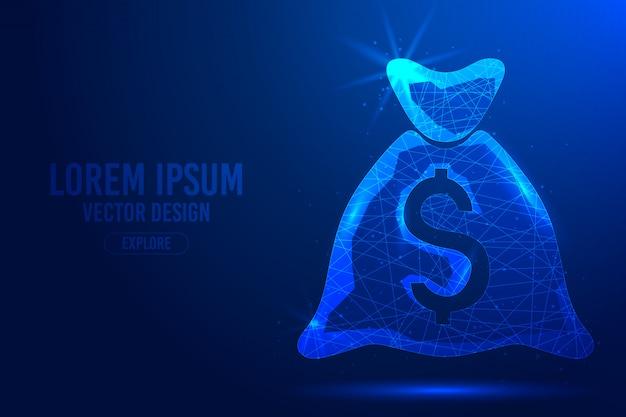 Tasche für geld auf einem blauen abstrakten hintergrund. lineares und polygonales 3d-konzept von bank, bargeld, investition, geldspeicherung.