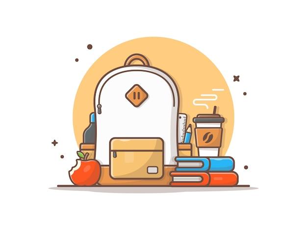 Tasche mit apple, büchern und kaffee-ikonen-illustration
