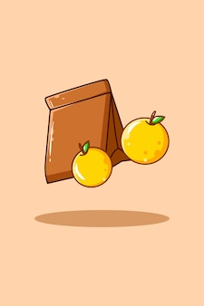 Tasche mit orangenfruchtikonenkarikaturillustration