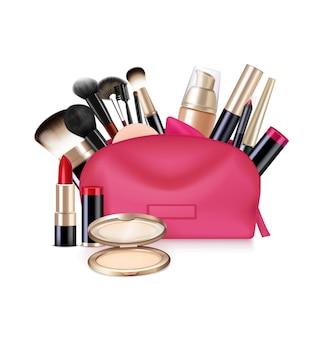 Tasche mit realistischer zusammensetzung der kosmetik mit lokalisiertem bild des offenen kosmetikkastens mit pinseln und lippenstiftillustration