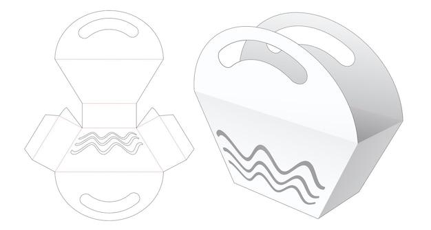 Tasche mit trapezförmigem griff und schablonierter wellenstanzschablone