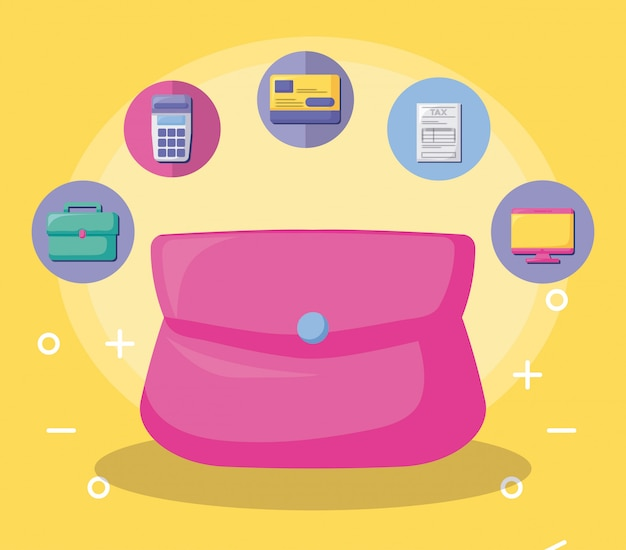 Tasche mit wirtschaft und finanz mit ikonensatz