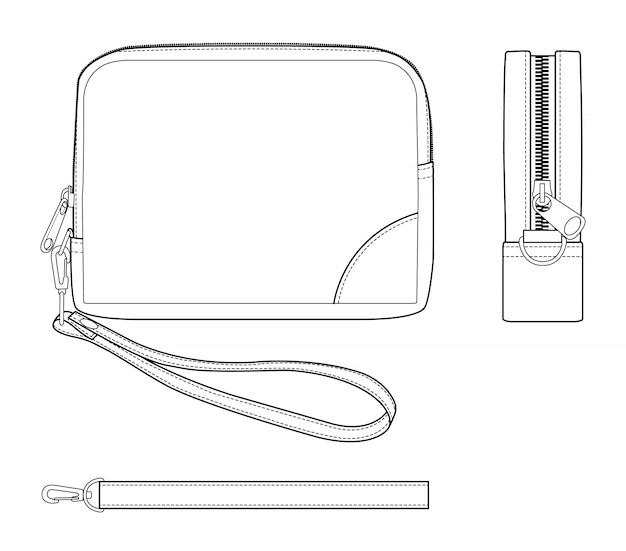 Tasche mode technische zeichnungen vektor vorlage