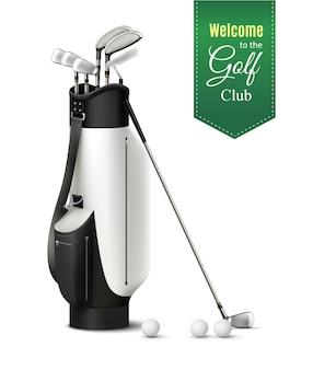 Tasche von verschiedenen golfschlägern und bällen realistische satzvektorillustration
