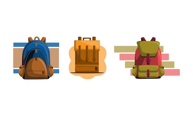 Tasche zurück zu schule-vektor-set