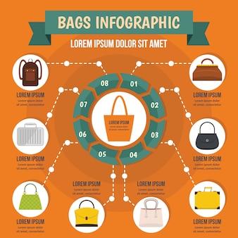 Taschen infographik konzept, flachen stil