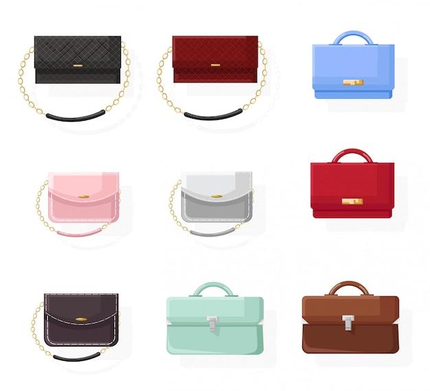 Taschen legen sie vektor flache. stilvolles zubehör im klassischen stil der farbenfrohen kollektion