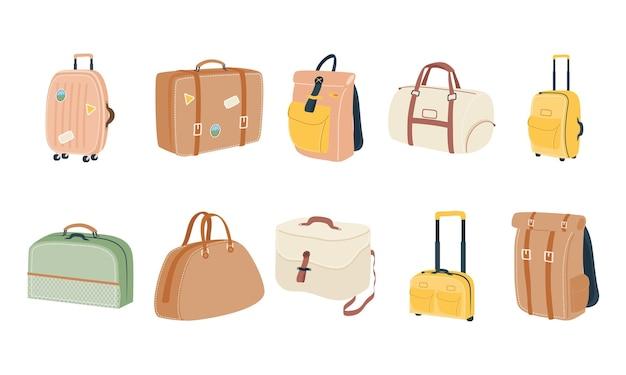 Taschen symbol sammlung design, gepäck gepäck tourismus reisethema vektor-illustration