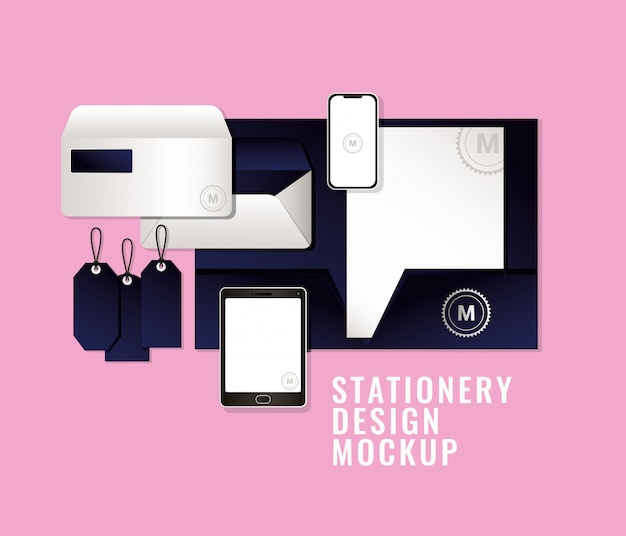 Taschen und becher modell gesetzt mit dunkelblauem branding der corporate identity und des briefpapierdesign-themas