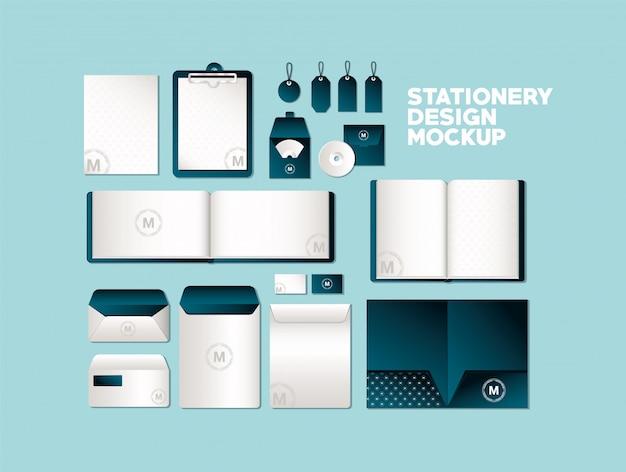 Taschen und becher modell gesetzt mit dunkelgrünem branding der corporate identity und briefpapier design thema