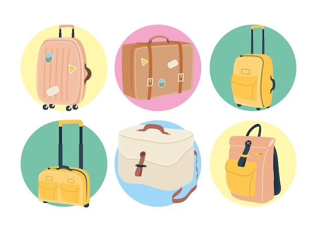 Taschenikonset-design, gepäckgepäcktourismus-reisethema vektorillustration