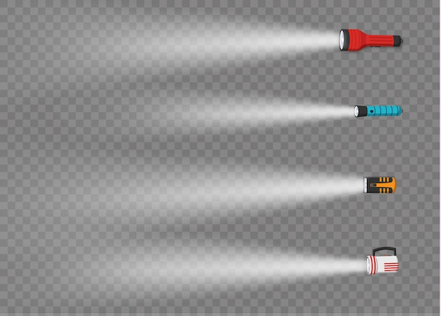 Taschenlampenbeleuchtung mit scheinwerfer oder blitz. satz laterne oder blinklichtlampe. verschiedene arten von taschenlampen mit lichtstrahlen auf dem transparenten hintergrund