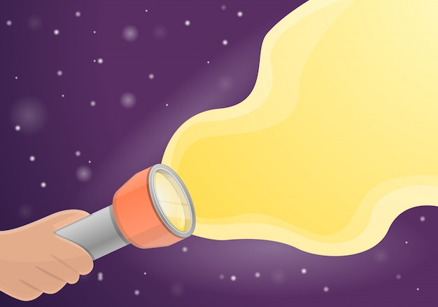 Taschenlampenkonzepthintergrund, karikaturart
