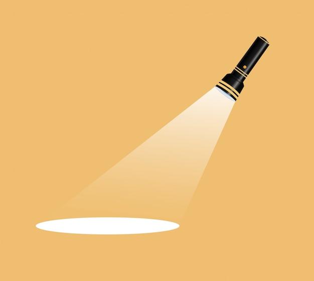 Taschenlampensymbol. flache illustration.wettbewerb flache taschenlampe in weiß.für werbung und text.