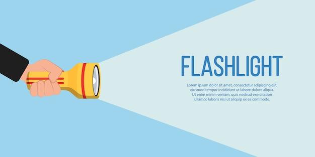 Taschenlampensymbol für werbung und text. hand mit taschenlampe und projektionslichtstrahl in flachem design. platz für ihren text. illustration.
