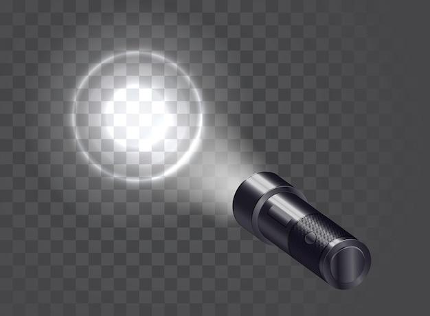 Taschenrealistische taschenlampe beleuchtet die wand.