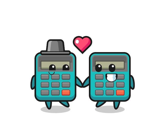 Taschenrechner-cartoon-charakterpaar mit verliebtheitsgeste, süßem stildesign für t-shirt, aufkleber, logo-element