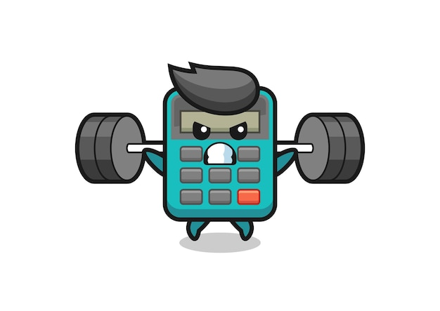 Taschenrechner-maskottchen-cartoon mit einer langhantel, süßem stildesign für t-shirt, aufkleber, logo-element