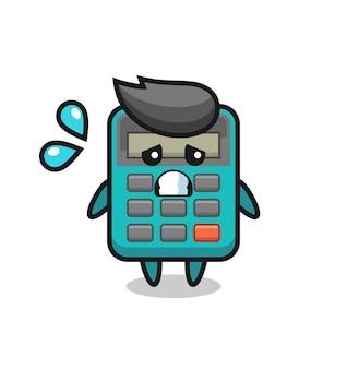 Taschenrechner-maskottchen-charakter mit ängstlicher geste, süßes design für t-shirt, aufkleber, logo-element