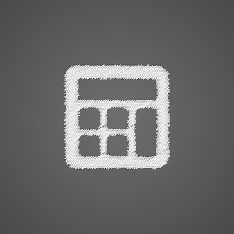 Taschenrechner-skizze-logo-doodle-symbol auf dunklem hintergrund isoliert