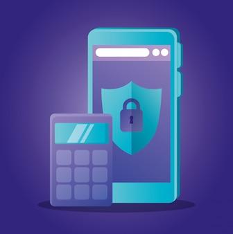 Taschenrechner und smartphone mit schild