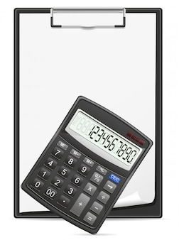 Taschenrechnerklemmbrett und leeres blatt papier konzept vector illustration