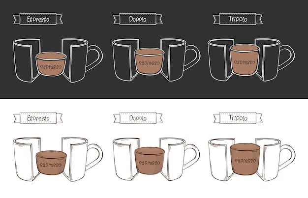 Tasse 3 espresso. infografik