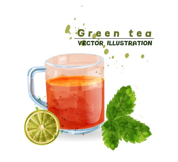 Tasse aquarell mit grünem tee