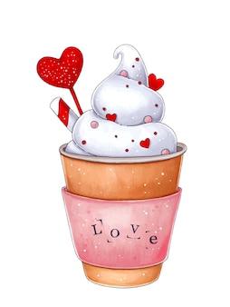 Tasse cappuccino-kaffee mit herzillustration zum valentinstag