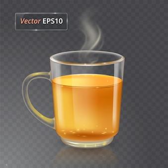 Tasse für tee oder kaffee. glas transparente tasse auf transparentem hintergrund mit realistischem rauch.