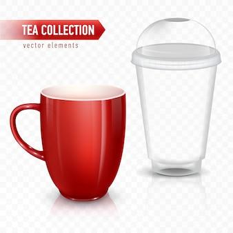 Tasse für tee oder kaffee. keramikbecher und plastikbecher.