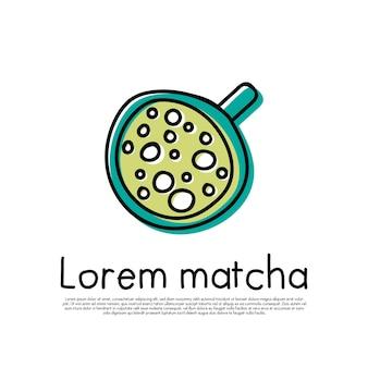 Tasse grüner matcha latte isolierte vektorillustration umrissgetränk clipart