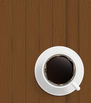 Tasse kaffee auf brettern hintergrundvektorillustration.