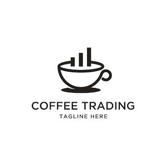 Tasse kaffee chart bar logo design inspiration