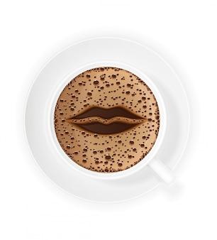 Tasse kaffee crema und symbollippen