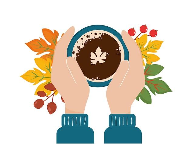 Tasse kaffee draufsicht in den händen. herbstgetränk.