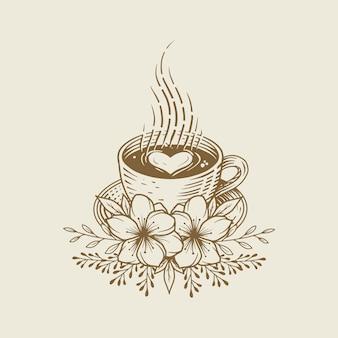 Tasse kaffee latte mit blumenverzierung. vintage tuschenskizzenzeichnungstechnik.